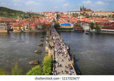 April 26, 2013, the Czech Republic, Prague. Beautiful view from above on the city Castle and Charles Bridge