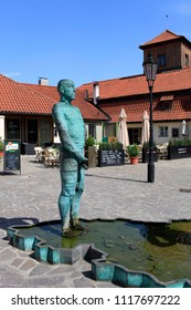 "April 26, 2013, the Czech Republic. Prague. Fountain ""Man on the map of the Czech Republic."" Kafka Museum"