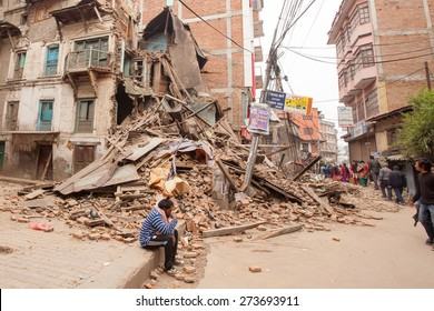 April 26, 2015 Ruins in Kathmandu city after earthquake in Nepal