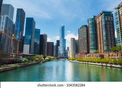 April 26 2017. Chicago Skyline Panorama over Chicago River Chicago, IL, USA.