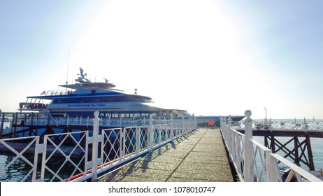 April 26 2018 Bali Indonesia, Quicksilver Silversonic boats taking tourists on Lembongan to Nusa Penida trips full day cruises by bounty cruises