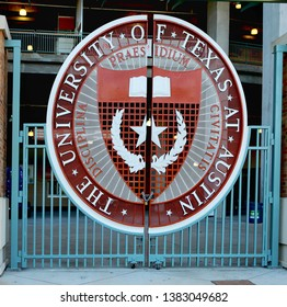 April 26, 2019, Austin, Texas. The University of Texas symbol on Longhorns football stadium gate. The Darrell K. Royal Texas Memorial Stadium is home to Longhorns football team since 1924.
