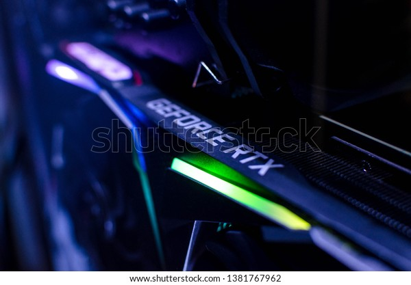 Kleszczów/Polska - April 26 2019: NVIDIA GeForce RTX GPU Close up