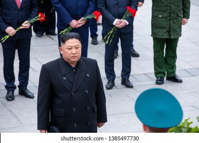 April 26, 2019 - Vladivostok, Primorsky Krai - North Korean leader Kim Jong-un during the ceremony of laying flowers and wreaths at the memorial of eternal fire in Vladivostok