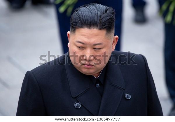 April 26, 2019 - Vladivostok, Primorsky Krai - North Korean leader Kim Jong-un during the ceremony of laying flowers and wreaths at the memorial of eternal fire in Vladivostok