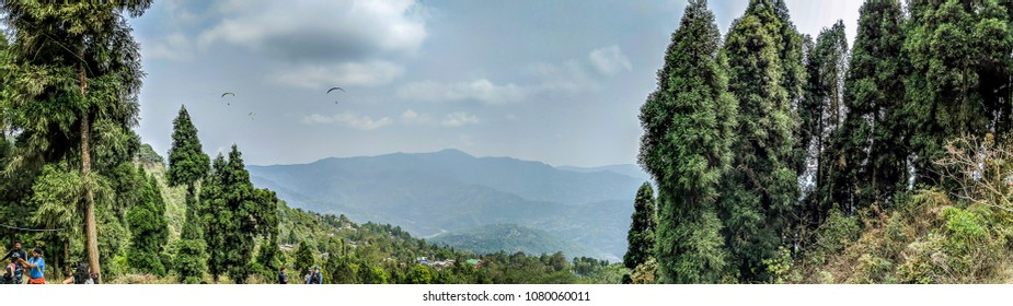 April 26,2018. Delo, kalimpong, India. A panoramic view of Deolo hill and paragliding spot.