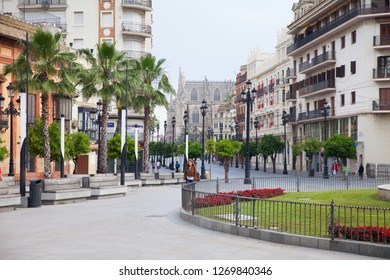 April 27, 2013 - Sevilla, Spain: Streets of Sevilla, near Hispalis Fountains; view to St. Constitution Street (Sevilla Cathedral at background).