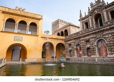April 27, 2013 - Sevilla, Spain: one of the inner gardens of the historical Real Alcazar building.