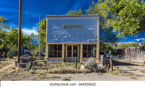 APRIL 27, 2017 - PARADOX COLORADO -  Paradox Store front, off State Route 90, Western Colorado near Utah border