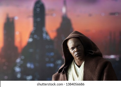 APRIL 27 2019: Jedi Master Mace Windu in Coruscant. Coruscant cityscape in the background.