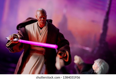 APRIL 27 2019: Recreation of a scene from Star Wars The Phantom Menace, where Jedi Master Mace Windu confronts senator Palpatine