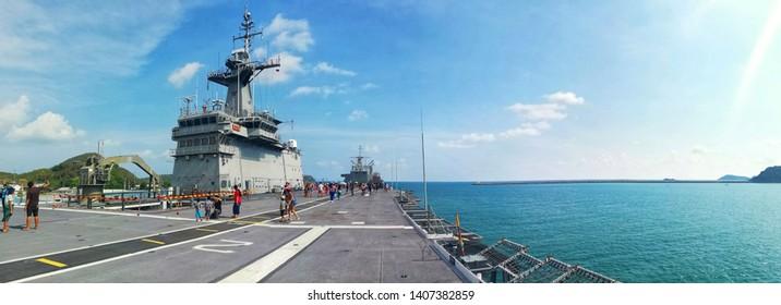 April 27, 2019 Visited The Royal Ship Chakri Naruebet At Sattahip Naval Base Chonburi Province, Thailand