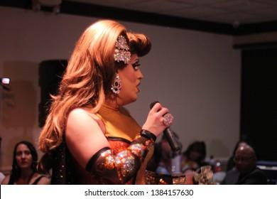 April 27 2019. York, P.A. Drag Katrina Escalarza  performing at Lequitcha's dinner show.