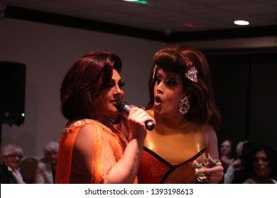 April 27th 2019. York. P.A. Drag Queen Katrina Enscalarza performing with Cheo Rodriguez at Lequitcha's Dinner Show.