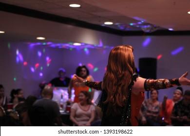 April 27th 2019. York. P.A. Drag Queen Katrina Enscalarza performing at Lequitcha's Dinner Show.