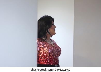 April 27th 2019. York. P.A. Drag Queen Katrina Escalarza posing at Lequitcha's dinner show.