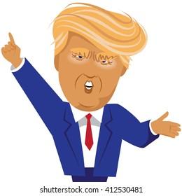APRIL 28, 2016: Illustrative editorial cartoon of Donald Trump gesturing.
