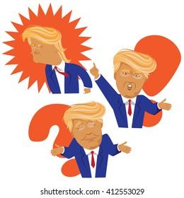 APRIL 28, 2016: Illustrative editorial Donald Trump cartoon collection.