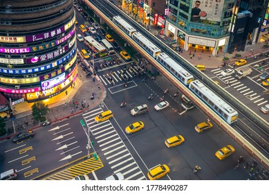 April 28, 2016: scenery of the eastern district, the area along  Zhongxiao East Road between Zhongxiao Fuxing MRT station and Sun Yat-Sen Memorial Hall in Taipei, Taiwan.