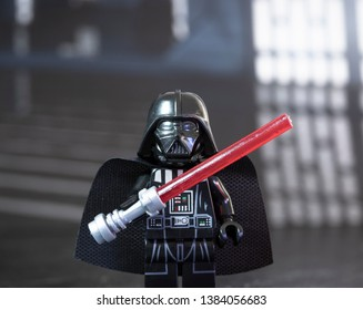 APRIL 28 2019: Darth Vader Lego mini figure with a lightsaber inside the Death Star.