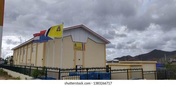 April 28 2019. The Dutch CoastGuard Building in Simpson Bay St Maarten . Photo taken from the Simpson Bay bridge