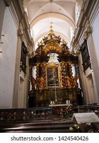 April 28 2019 Prague The Church of Our Lady Victorious also referred as the Shrine of the Infant Jesus of Prague.The famous Child Jesus of Prague statue  in the church is said to perform miracles