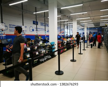 April 28, 2019 - Shah Alam's Decathlon, Malaysia. Customers were checking out at local sport store's cashiers section in Malaysia.