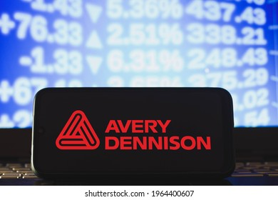 April 28, 2021, Brazil. In this photo illustration the Avery Dennison Corporation logo seen displayed on a smartphone screen