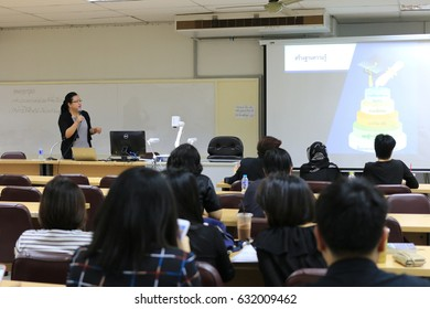 April 29, 2017 : PhD candidate students sitting in  large meeting room for profession research seminar with professor at Faculty of Education, Chulalongkorn University, Bangkok, Thailand