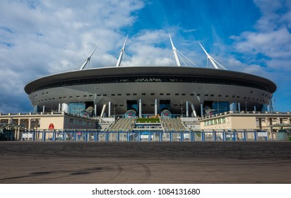 April 29, 2018 St. Petersburg, Russia. Stadium St. Petersburg Arena where the matches of the FIFA World Cup 2018 and the European Football Championship 2020 will be held.