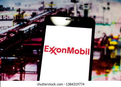 April 29, 2019, Brazil. In this photo illustration the Exxon Mobil logo is displayed on the screen of the mobile device.