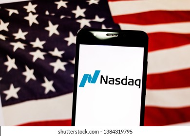 April 29, 2019, Brazil. In this photo illustration the NASDAQ logo is displayed on the screen of the mobile device.