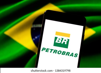 April 29, 2019, Brazil. In this photo illustration the Petrobras logo is displayed on the screen of the mobile device.