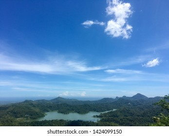 April 3, 2018 : Waduk Sermo scenery view from Kalibiru, Kulonprogo, Yogyakarta, Indonesia.