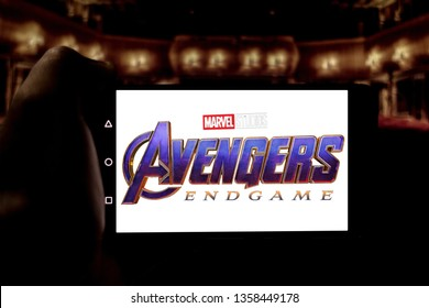 April 3, 2019, Brazil. Avengers Endgame logo on the mobile device screen. Avengers: Endgame is a superhero movie produced by Marvel Studios and distributed by Walt Disney Studios Motion Pictures.