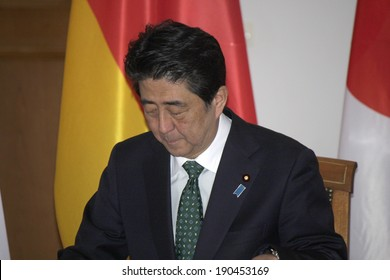 APRIL 30, 2014 - BERLIN: Shinzo Abe at a meeting of the Japanese Prime Minister with the German Federal President in the Schloss Bellevue,Berlin.
