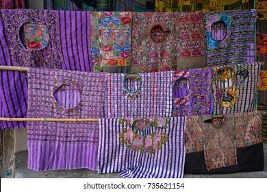 April 30, 2016 Santiago Atitlan, Guatemala: Maya 'huipil' traditional womens blouse offered at local gift shops as tourist souvenirs