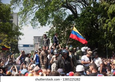 April 30, 2019. Caracas-Venezuela: Thousands of followers of interim president Juan Guaidó gather in Caracas to protest Nicolas Maduro's regime.