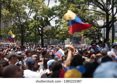 April 30, 2019. Caracas-Venezuela: Thousands of followers of interim president Juan Guaidó gather in Caracas to protest Nicolas Maduro's regime