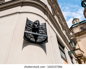 April 30 2019 Prague. Memorial on Birthplace of Franz Kakfa who was a German-speaking Bohemian Jewish novelist and short-story writer, widely regarded as one of the major figures of C20th literature