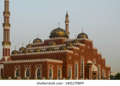 April 4, 2017-Dubai United Arab Emirates : Modern architecture of the mosque in Al Barsha Dubai, Al Salam Mosque