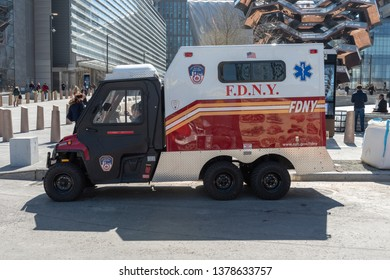 April 4, 2019- New York, NY/USA: New York City Fire Department (FDNY) ASAP vehicle in Manhattan with paramedics inside. ASAP (Alternative Support Apparatus)Vehicles are mini ambulances.