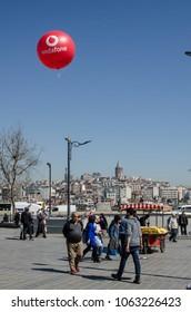 April 5, 2018, Eminonu Istanbul Turkey, balloon showing the advertising of the telecommunications company Vodafone