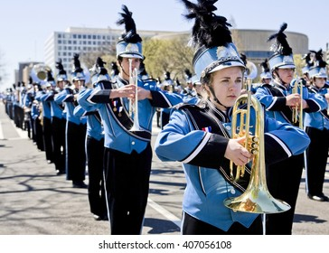 april 6, 2009, Washington, DC USA: High school marching band performers prepare to perform during the National Cherry Blossom Festival parade.