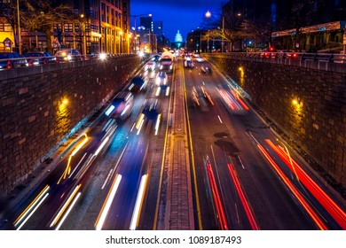 APRIL 6, 2018 - WASHINGTON D.C. - Rush hour traffic on North Capitol show tail lights leading to US Capitol, Washington D.C.  - shot at dusk