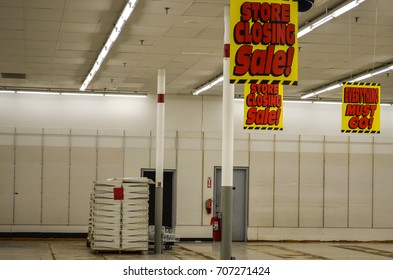 APRIL 7 2016 - NEW HOPE, MINNESOTA: Interior of a Kmart store, during the last day of a going out of business sale. Few Kmart retail stores remain in the Twin Cities metro area