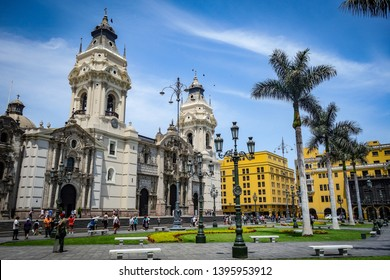 April 7, 2018 - Lima, Peru: Cathedral and Plaza de Armas in Lima's historical city center