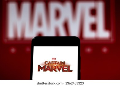 April 7, 2019, Brazil. Captain Marvel logo on the mobile device. Captain Marvel is a superhero movie from 2019, based on the Marvel Comics character Carol Danvers, produced by Marvel Studios.