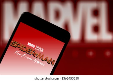 April 7, 2019, Brazil. Logo Spider-Man: Far From Home on mobile device. Spider-Man: Far From Home is a future American action, adventure and science fiction film, produced by Marvel Studios.