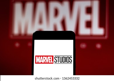 April 7, 2019, Brazil. Marvel Studios logo on mobile device. Marvel Studios is an American film studio part of the conglomerate The Walt Disney Company.